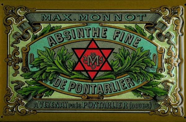 Blechschild Absinthe Fine De Pontarlier Davidstern Frankreich Absinth Schild Nostalgieschild