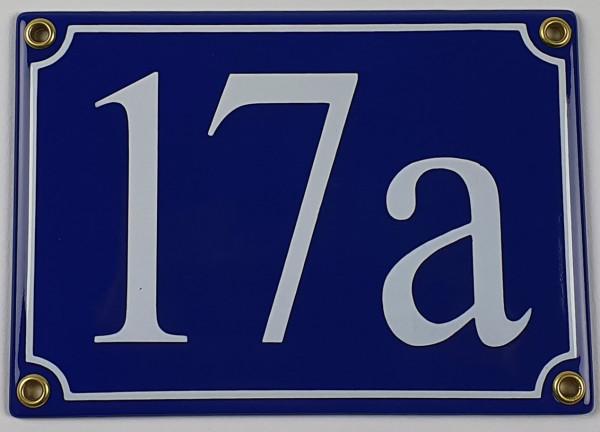 17a blau Serif 17x12 cm sofort lieferbar 3-stellig Schild Emaille Hausnummer