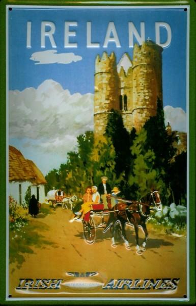 Blechschild Irish Airlines Burg mit Pferdekarre Schild Nostalgieschild