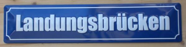 Strassenschild Landungsbrücken St. Pauli Hamburg aus Stahlblech 46x10 cm Schild Souvenir Andenken