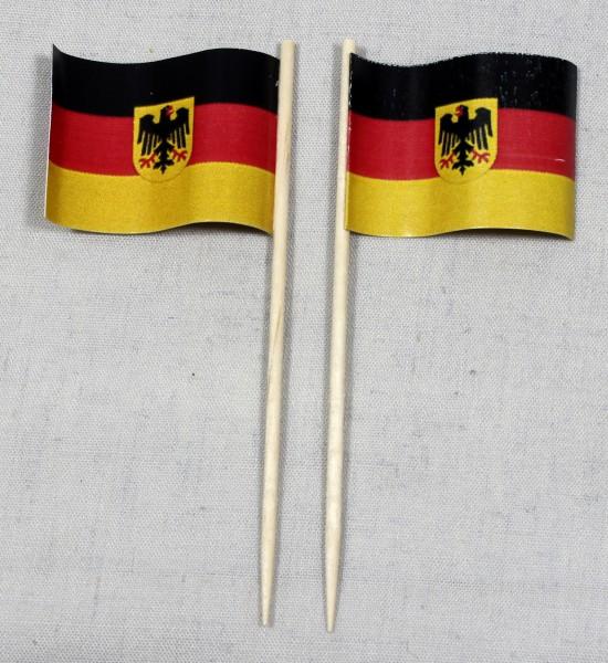 Party-Picker Flagge Deutschland Bundesdienstflagge Adler Papierfähnchen in Spitzenqualität 50 Stück