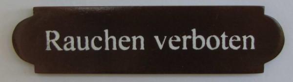 Eckiges Holz - Türschild Rauchen verboten 3x12 cm dunkles Holzschild