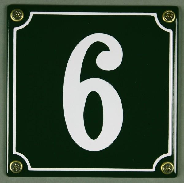 Hausnummernschild 6 grün 12x12 cm sofort lieferbar Schild Emaille Hausnummer Haus Nummer Zahl Ziffer
