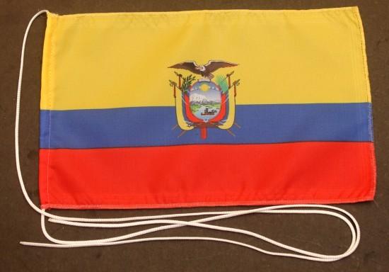 Tischflagge Ecuador 25x15 cm optional mit Holz- oder Chromständer Tischfahne Tischfähnchen