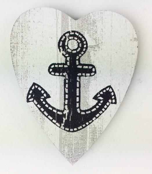 Herz Magnet Holz Anker grau schwarz Herzmagnet Holzmagnet