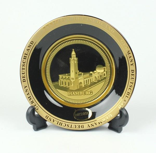 Hamburg Landungsbrücken Wandteller 10 cm echt vergoldet in Geschenkbox Souvenir Teller mit Wandaufhä