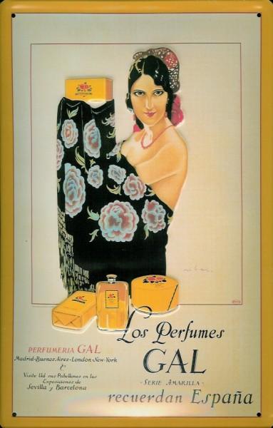 Blechschild Perfumes Gal Espana Parfum Schild retro Nostalgieschild