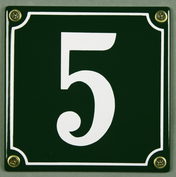 Hausnummernschild 5 grün 12x12 cm sofort lieferbar Schild Emaille Hausnummer Haus Nummer Zahl Ziffer
