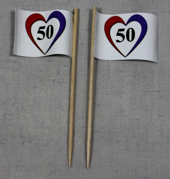 Party-Picker Flagge Herz 50 Goldene Hochzeit Papierfähnchen in Spitzenqualität 50 Stück Beutel