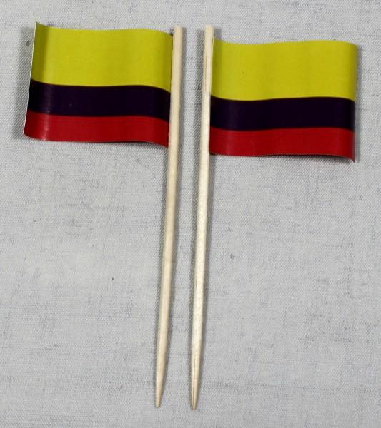 Party-Picker Flagge Kolumbien Papierfähnchen in Spitzenqualität 50 Stück Beutel