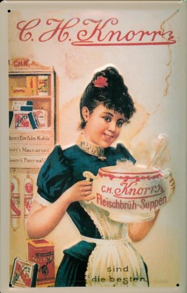 Blechschild Knorr Suppen Küche Frau Suppenterrine Schild Reklameschild