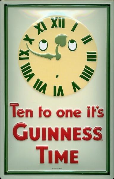 Blechschild Guinness Time ten to one Bier Schild Kneipenschild