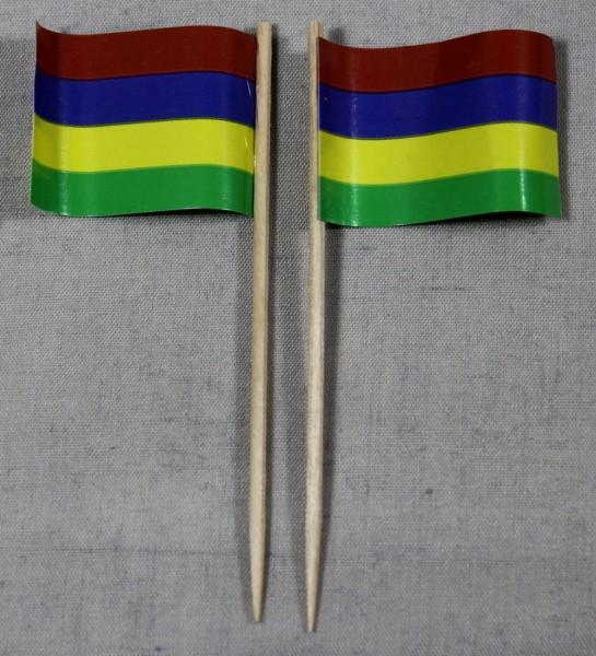 Party-Picker Flagge Mauritius Papierfähnchen in Spitzenqualität 50 Stück Beutel