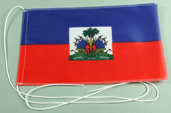 Tischflagge Haiti 25x15 cm optional mit Holz- oder Chromständer Tischfahne Tischfähnchen