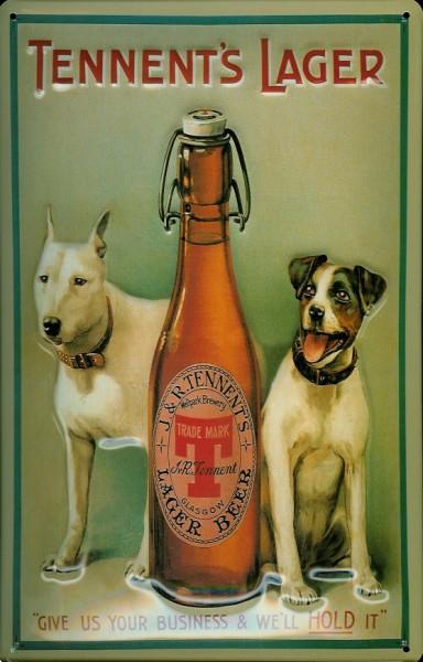 Blechschild Tennents Lager Beer Hund Bier Reklameschild retro Schild Bierflasche