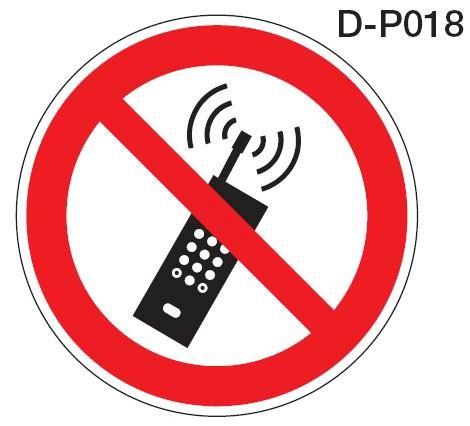 Aluminium Verbotsschild D-P018 Mobilfunk Handy verboten verschiedene Größen 0,6 mm Alu