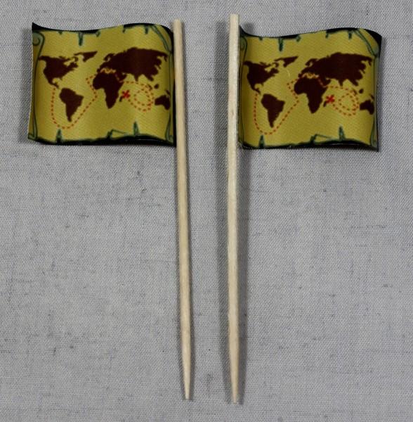 Party-Picker Flagge Pirat (5) Schatzkarte Papierfähnchen in Spitzenqualität 50 Stück Beutel