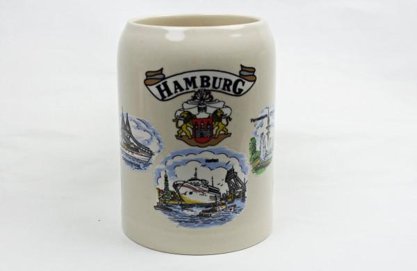 Bierkrug mit 8 Hamburg Motive Bierhumpen