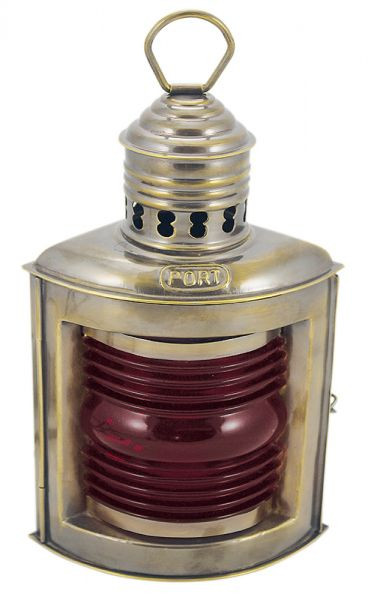 Positionslampe Backbordlampe antik rot Schiffslampe Messing 23cm Petroleumbrenner