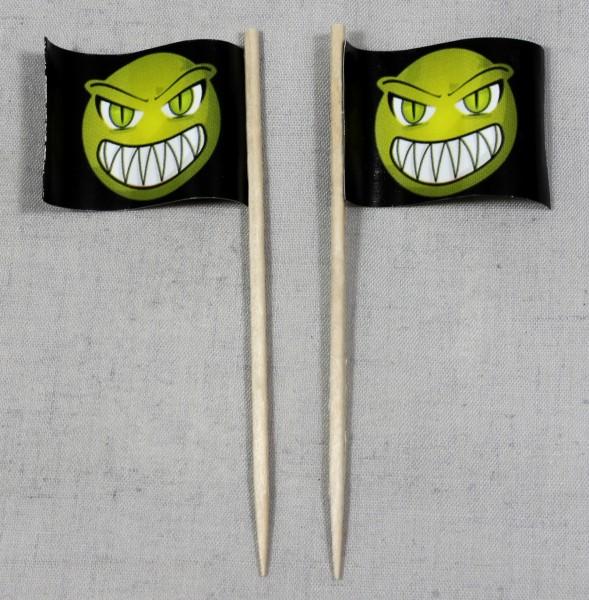 Party-Picker Flagge Halloween Monster gelb Papierfähnchen in Spitzenqualität 50 Stück Beutel