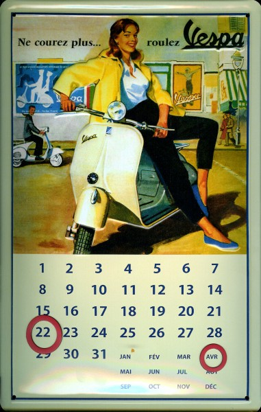 Blechschild Vespa Motorroller Magnet Kalender Schild Nostalgieschild
