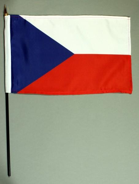 Tischflagge Tschechien 20x30 cm optional mit Tischflaggenständer aus Mahagoni Holz