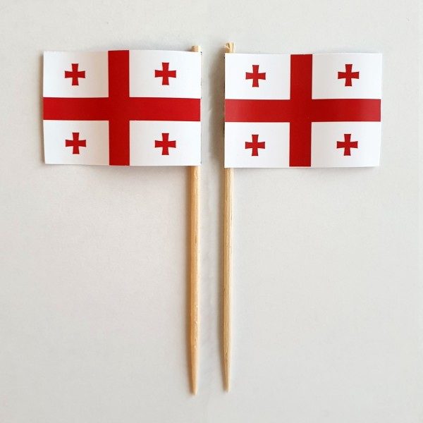 Party-Picker Flagge Georgien Papierfähnchen in Spitzenqualität 50 Stück Beutel