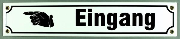Strassenschild Eingang Hand links 40x8 cm Email Strassen Schild Emaille
