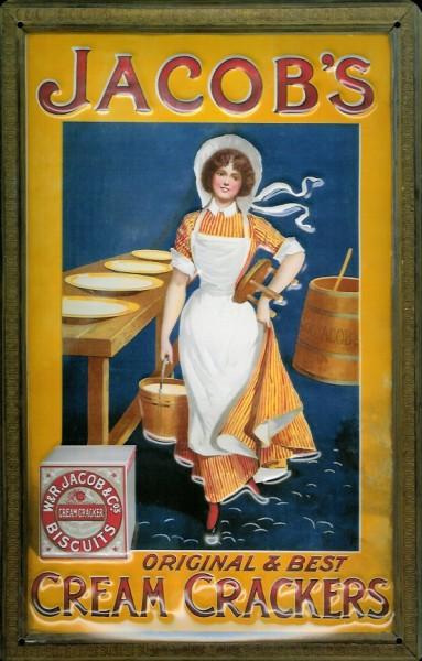 Blechschild Jacob Cream Crackers Bisquits Kekse Schild Nostalgieschild