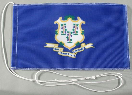 Tischflagge Connecticut USA Bundesstaat US State 25x15 cm optional mit Holz- oder Chromständer Tisch