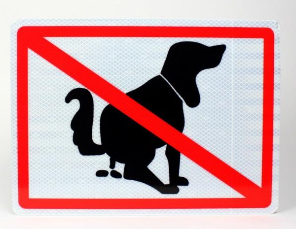 Reflektierendes Aluminium Schild Hier kein Hundeklo
