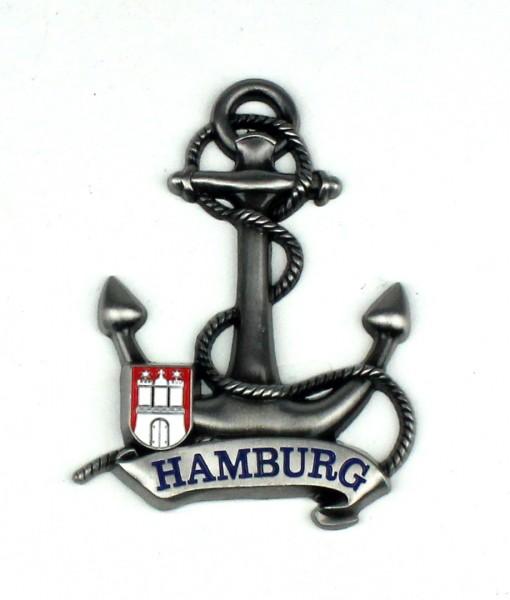 Magnet Anker Tau Silber Titan Hamburg Banderole Wappen Souvenir Mitbringsel Geschenk Deko