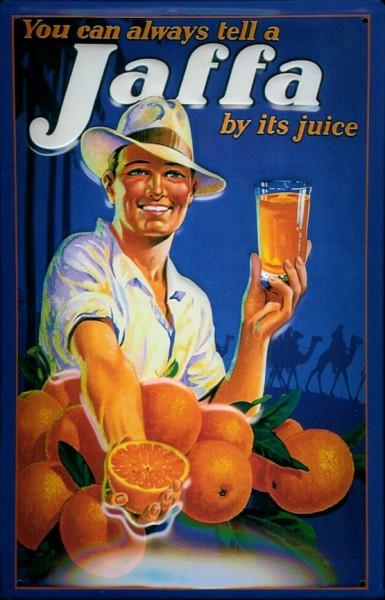 Blechschild Jaffa Orangen und Orangensaft Schild Nostalgieschild