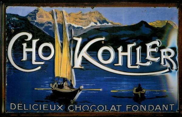 Blechschild Kohler Cho Chocolat Fondant Bergsee Boote Schild Nostalgieschild