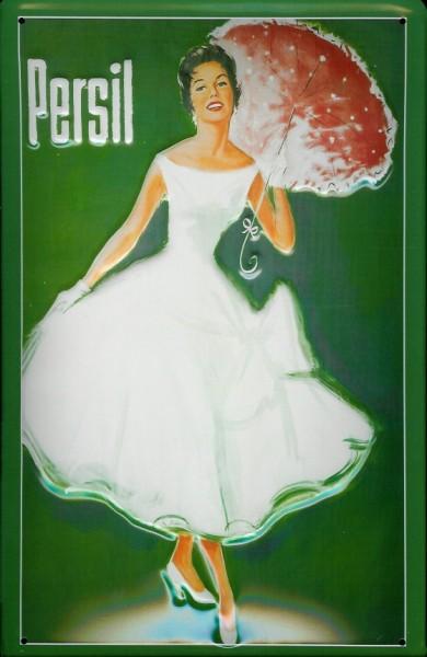 Blechschild Persil Frau mit Sonnenschirm grün Schild retro Werbeschild Nostalgieschild