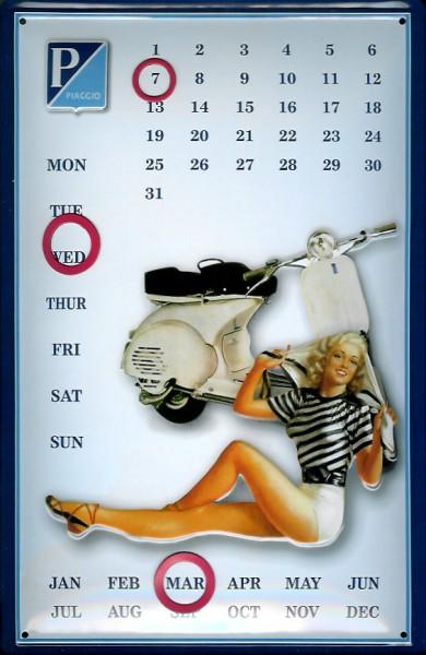 Blechschild Vespa Piaggio Motorroller Magnetkalender Schild Nostalgieschild