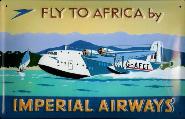 Blechschild Imperial Airways Wasserflugzeug Wasserlandung Flugzeug Schild Werbeschild