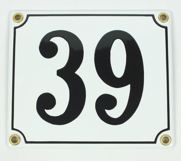 39 weiß Clarendon 12x14 cm sofort lieferbar Schild Emaille Hausnummer