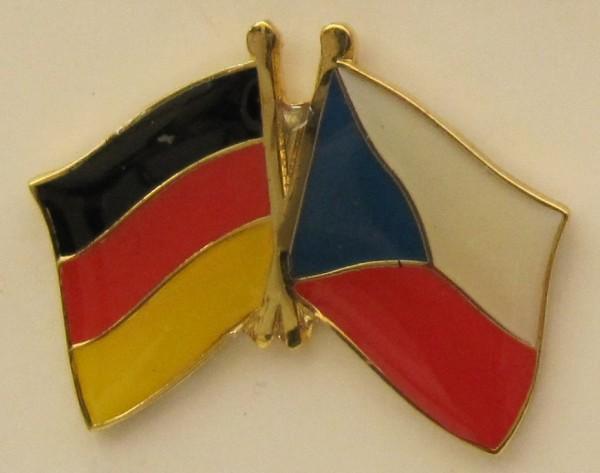 Tschechien / Deutschland Freundschafts Pin Anstecker Flagge Fahne Nationalflagge