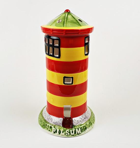 Leuchtturm Modell Pilsum 18,5cm mit Teelichthalter Keramik Leuchtturmmodell