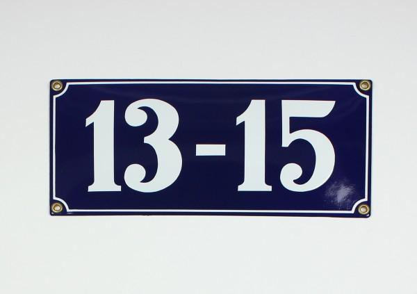13-15 blau Clarendon 26x12 cm sofort lieferbar Schild Emaille 5-stellige Hausnumme