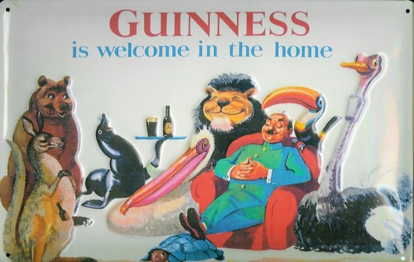 Blechschild Guinness bier is welcome in the home Tiere Wohnzimmer Schild Werbeschild