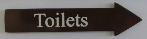 Türschild Toilets dunkles Holz Pfeilform 3,5x15 cm