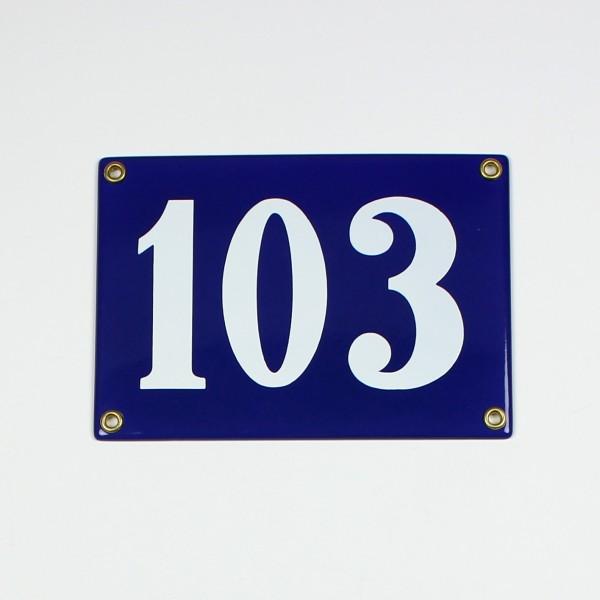 103 blau Clarendon ohne Rahmen 18x12 cm sofort lieferbar 3-stellig Schild Emaille Hausnummer