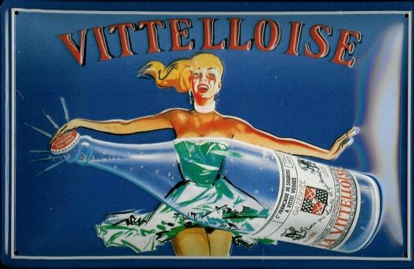 Blechschild Vittelloise Mineralwasser Frankreich retro Schild Werbeschild