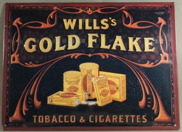 Blechschild Nostalgieschild Wills Gold Flake Cigarettes Tobacco Zigaretten Werbung Retro Schild