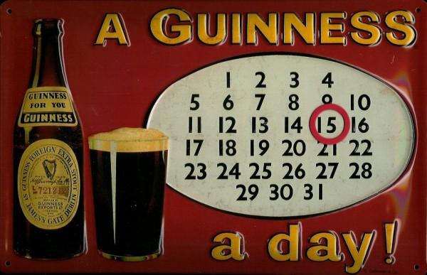 Blechschild Guinness Bier Day Magnet Kalender Dauerkalender retro Schild