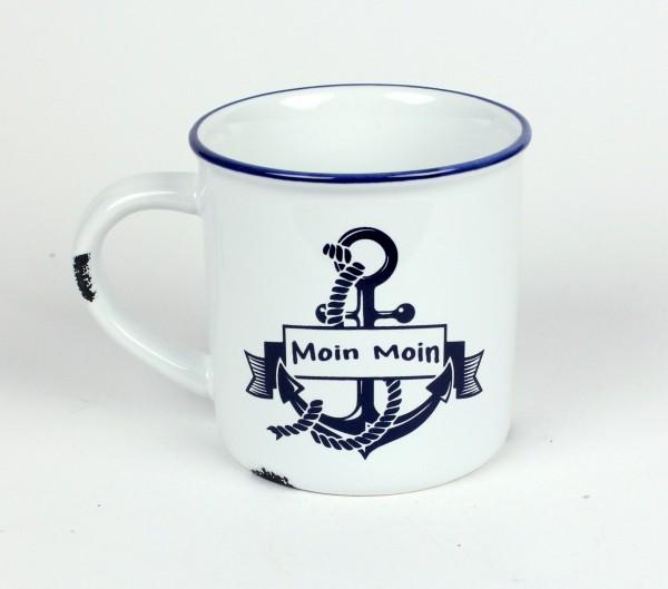 """Moin Moin Anker Kaffeebecher Kaffeepott weiß BLAU """"Rusty"""" Emaille-Optik Tasse Becher"""