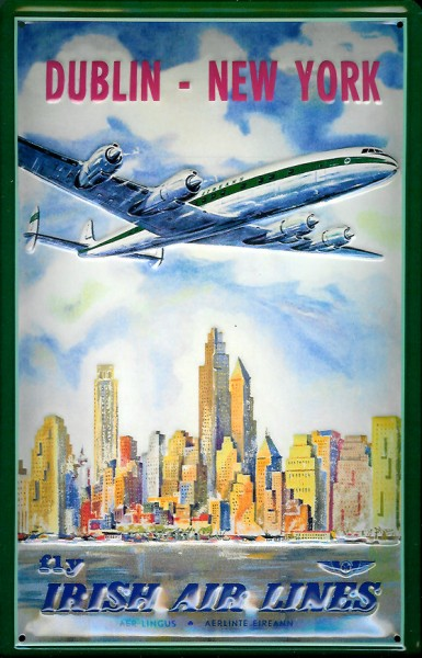 Blechschild Irish Air Line Dublin New York Flugzeug Schild Nostalgieschild