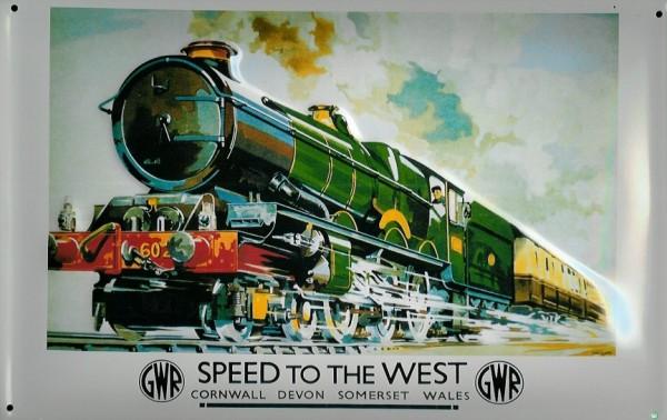 Blechschild Nostalgieschild Speed to the West Cornwall Devon Eisenbahn